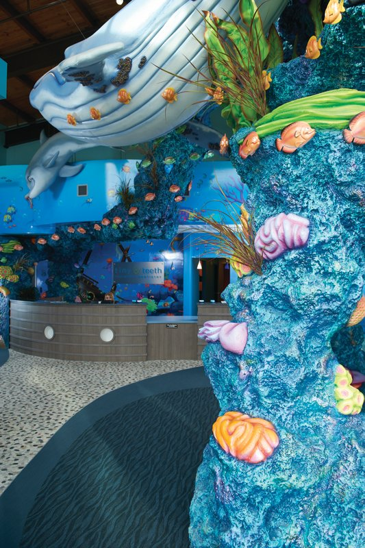 Interior structures and reception at Tiny Teeth Pediatric Dentistry