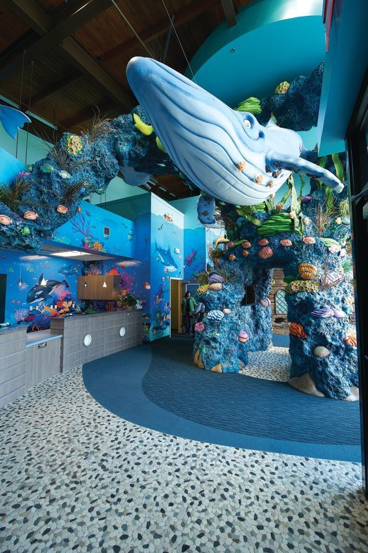 Interior structures and reception area at Tiny Teeth Pediatric Dentistry