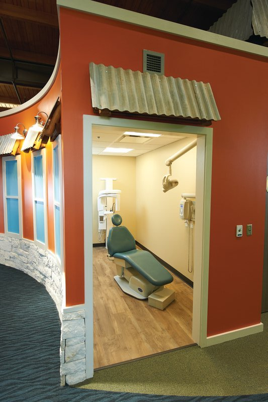 A dental operatory 'hiding' in a fun building at Tiny Teeth Pediatric Dentistry